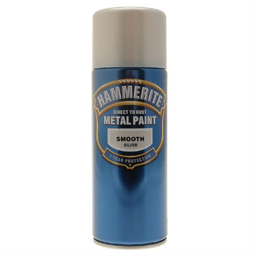 Hammerite Smooth Silver Metal Paint Spray Can 400ml